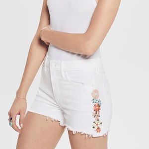 NWT MOTHER The Dutchie Floral Distressed Shorts